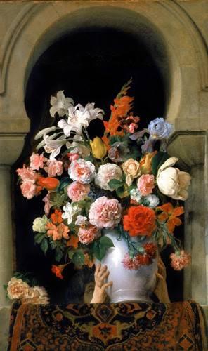 quadros-de-flores - Quadro -Vase of flowers on a harem s window- - Hayez, Francesco