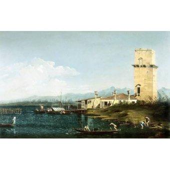 quadros de paisagens marinhas - Quadro -La torre di Marghera- - Canaletto, Giovanni A. Canal