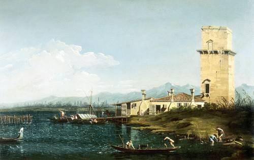 quadros-de-paisagens-marinhas - Quadro -La torre di Marghera- - Canaletto, Giovanni A. Canal