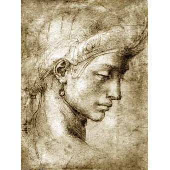 cuadros de mapas, grabados y acuarelas - Cuadro -Cabeza femenina con pendiente- - Buonarroti, Miguel Angel
