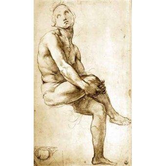 imagens de mapas, gravuras e aquarelas - Quadro -Desnudo masculino sentado- - Rafael, Sanzio da Urbino Raffael