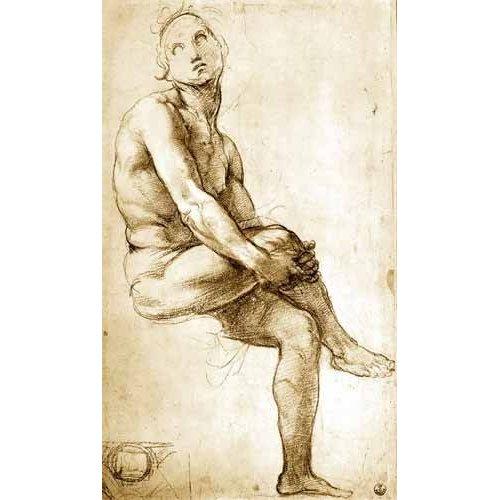 Quadro -Desnudo masculino sentado-