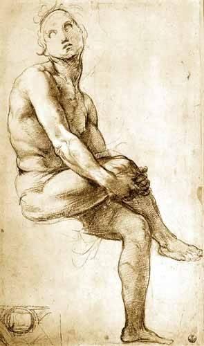imagens-de-mapas-gravuras-e-aquarelas - Quadro -Desnudo masculino sentado- - Rafael, Sanzio da Urbino Raffael