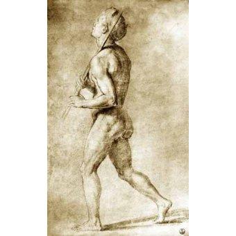 imagens de mapas, gravuras e aquarelas - Quadro -Estudio de desnudo masculino- - Rafael, Sanzio da Urbino Raffael