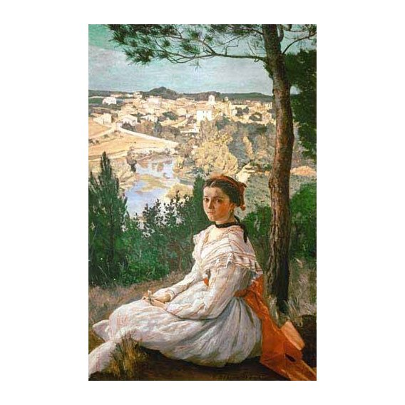 pinturas de paisagens - Quadro -Girl in a striped dress-
