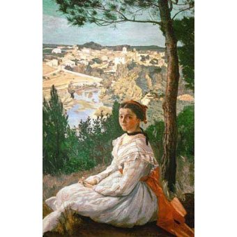 - Quadro -Girl in a striped dress- - Bazille, Frederic