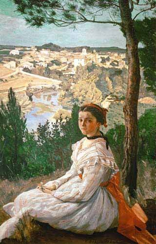 quadros-de-paisagens - Quadro -Girl in a striped dress- - Bazille, Frederic