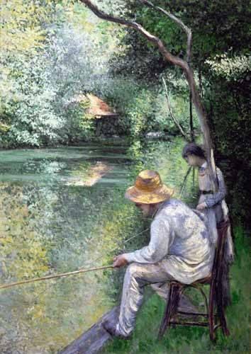 quadros-de-paisagens - Quadro -Peche a la ligne - Angling, 1878- - Caillebotte, Gustave