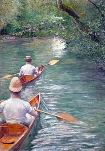 quadros-de-paisagens - Quadro -The Canoes, 1878- - Caillebotte, Gustave