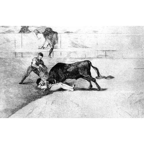 imagens de mapas, gravuras e aquarelas - Quadro -Tauromaquia Num 33 - Desgraciada muerte de Pepe Illo-