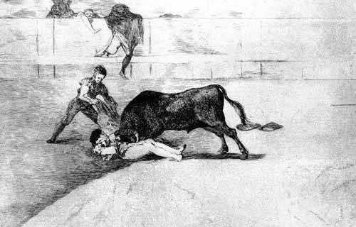 imagens-de-mapas-gravuras-e-aquarelas - Quadro -Tauromaquia Num 33 - Desgraciada muerte de Pepe Illo- - Goya y Lucientes, Francisco de