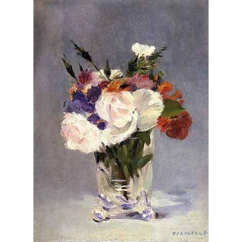 decorative paintings - Picture -Flores en un jarrón de cristal-
