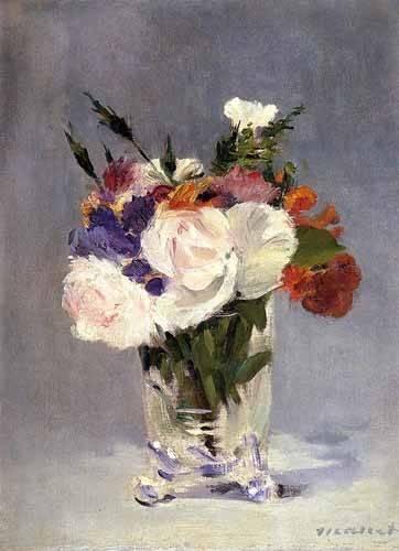 decorative paintings - Picture -Flores en un jarrón de cristal- - Manet, Eduard