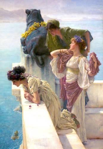 pinturas-de-retratos - Quadro -A Coign Of Vantage- - Alma-Tadema, Lawrence