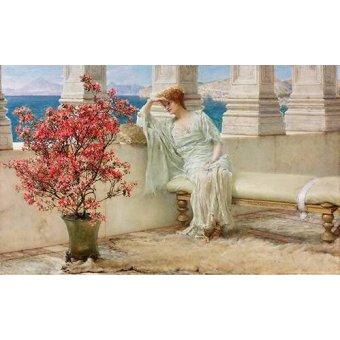 pinturas de retratos - Quadro -Su mirada y sus pensamientos se encuentran en la lejania, 1897- - Alma-Tadema, Lawrence