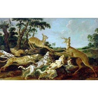 quadros de animais - Quadro -Hunting Scene, 1640-1650 (Escena de caza)- - Snyders, Frans