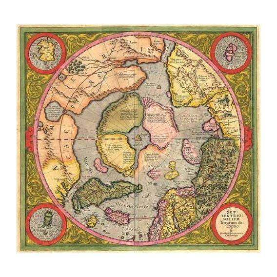 imagens de mapas, gravuras e aquarelas - Quadro -Antique Map, Mercator North Pole-