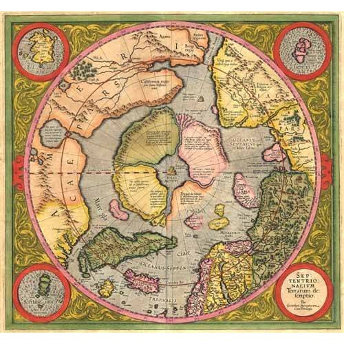 Quadro -Antique Map, Mercator North Pole-