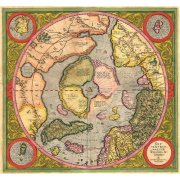 Picture -Antique Map, Mercator North Pole-
