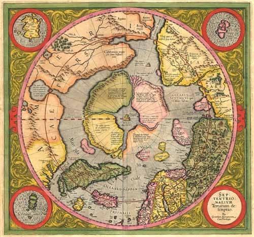 cuadros de mapas, grabados y acuarelas - Cuadro -Antique Map, Mercator North Pole- - Mapas antiguos