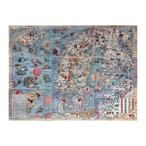 imagens de mapas, gravuras e aquarelas - Quadro -Carta Marina, Edited-