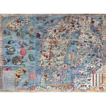imagens de mapas, gravuras e aquarelas - Quadro -Carta Marina, Edited- - Mapas antiguos - Anciennes cartes