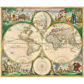 imagens de mapas, gravuras e aquarelas - Quadro -Nova Orbis de Wit, 1670- - Mapas antiguos - Anciennes cartes