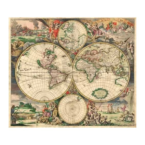 imagens de mapas, gravuras e aquarelas - Quadro -Gerard van Schagen, World Map 1689-