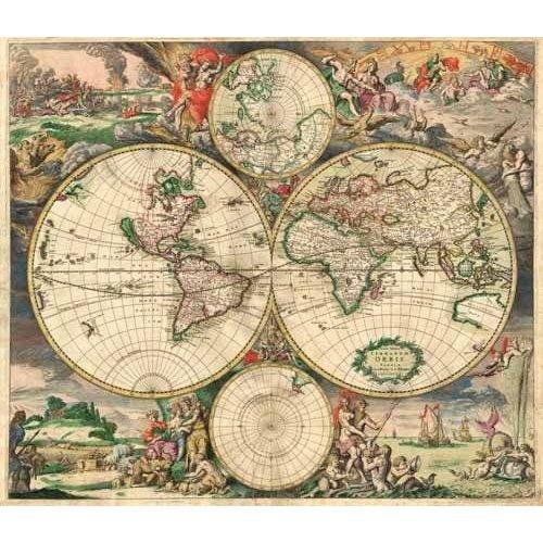 Cuadro -Gerard van Schagen, World Map 1689-