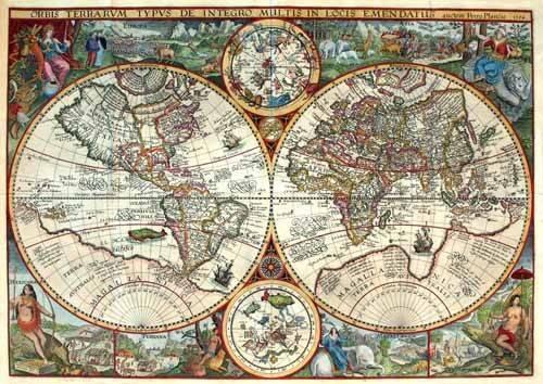 cuadros de mapas, grabados y acuarelas - Cuadro -1594, Orbis Plancius- - Mapas antiguos