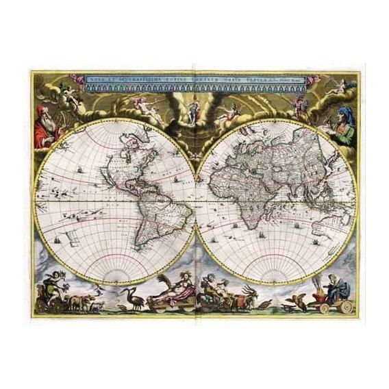cuadros de mapas, grabados y acuarelas - Cuadro -Nova et Accuratissima Terrarum Orbis Tabula (J_Blaeu, 1664)-