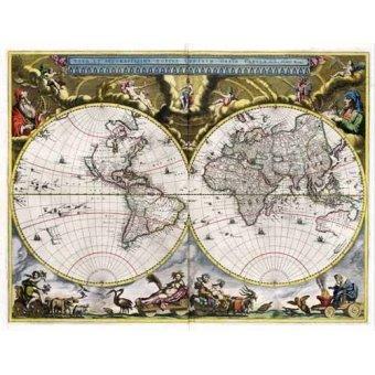imagens de mapas, gravuras e aquarelas - Quadro -Nova et Accuratissima Terrarum Orbis Tabula (J_Blaeu, 1664)- - Mapas antiguos - Anciennes cartes