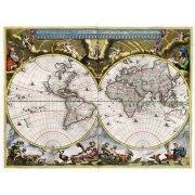 Quadro -Nova et Accuratissima Terrarum Orbis Tabula (J_Blaeu, 1664)-