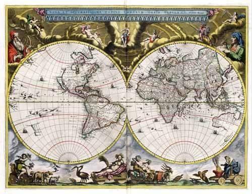 cuadros de mapas, grabados y acuarelas - Cuadro -Nova et Accuratissima Terrarum Orbis Tabula (J_Blaeu, 1664)- - Mapas antiguos