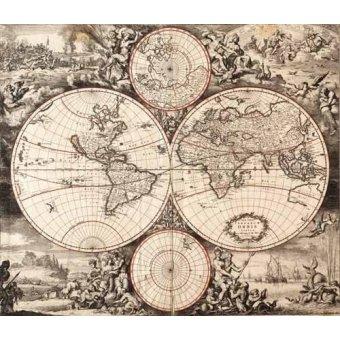 imagens de mapas, gravuras e aquarelas - Quadro -Nova totius terrarium orbis (De Wit, Luyken, De Hooghe)- - Mapas antiguos - Anciennes cartes