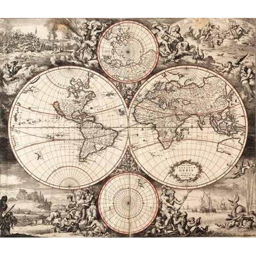 imagens de mapas, gravuras e aquarelas - Quadro -Nova totius terrarium orbis (De Wit, Luyken, De Hooghe)-