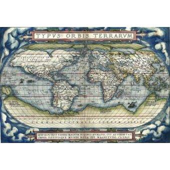 imagens de mapas, gravuras e aquarelas - Quadro -Ortelius World Map, 1570- - Mapas antiguos - Anciennes cartes