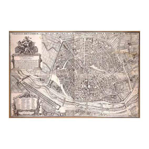 imagens de mapas, gravuras e aquarelas - Quadro -Plano de Valencia del Padre Tosca, 1704-