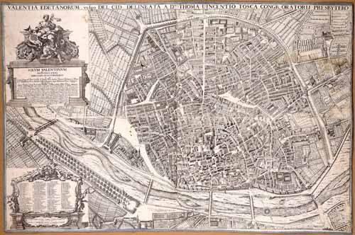 imagens-de-mapas-gravuras-e-aquarelas - Quadro -Plano de Valencia del Padre Tosca, 1704- - Mapas antigos - Anciennes cartes