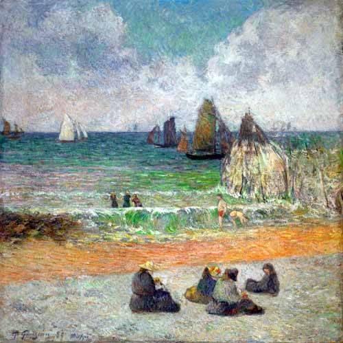 quadros-de-paisagens-marinhas - Quadro -La plage a Dieppe ou les Baigneuses, 1885- - Gauguin, Paul