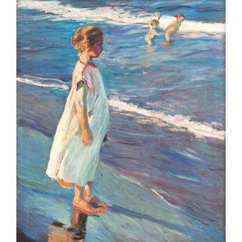 pinturas de retratos - Quadro -Menina na praia- - Sorolla, Joaquin
