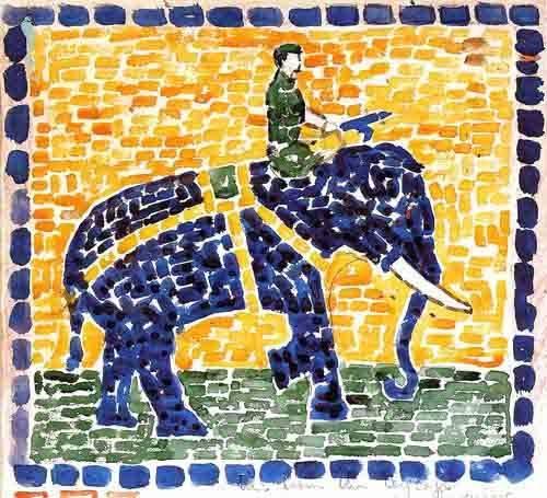decorative paintings - Picture -Elefante- - Prendergast, Maurice