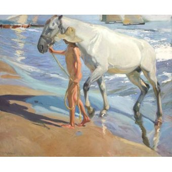 quadros de animais - Quadro -El bano del caballo- - Sorolla, Joaquin