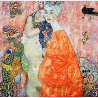 pinturas de retratos - Quadro -Girlfriends - - Klimt, Gustav
