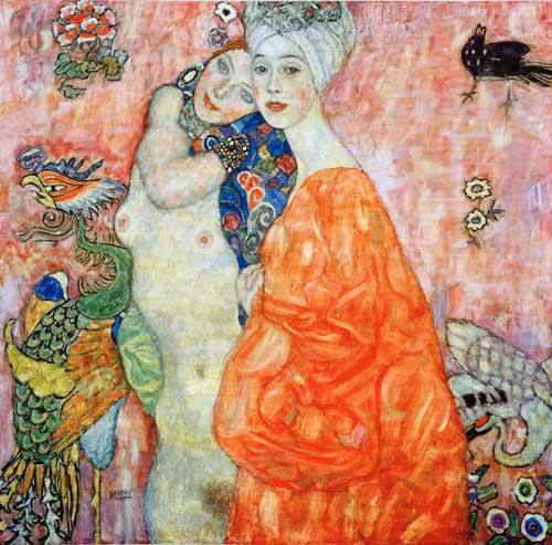pinturas-de-retratos - Quadro -Girlfriends - - Klimt, Gustav