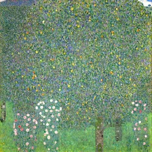 quadros-de-paisagens - Quadro -Roses under the trees, 1918- - Klimt, Gustav