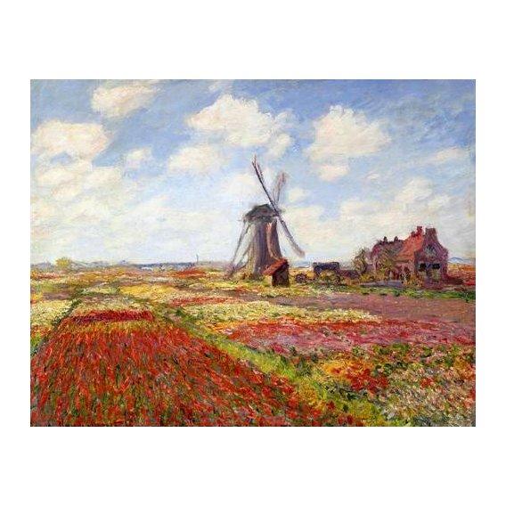 pinturas de paisagens - Quadro -Tulip Fields with the Rijnsburg Windmill, 1886-
