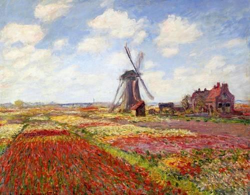 quadros-de-paisagens - Quadro -Tulip Fields with the Rijnsburg Windmill, 1886- - Monet, Claude