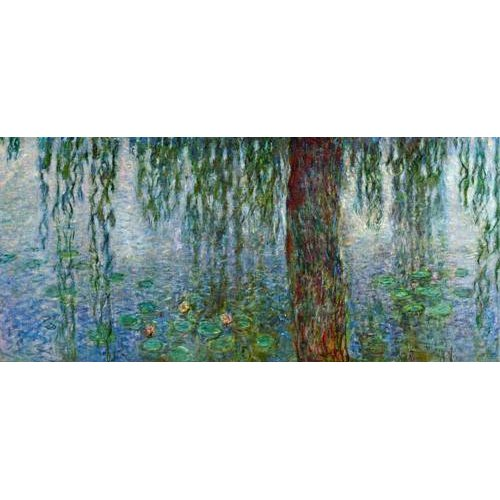 pinturas de paisagens - Quadro -Waterlilies, Morning with Weeping Willows, (left section)-