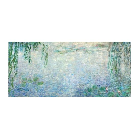 pinturas de paisagens - Quadro -Waterlilies, Morning with Weeping Willows, (central section)-